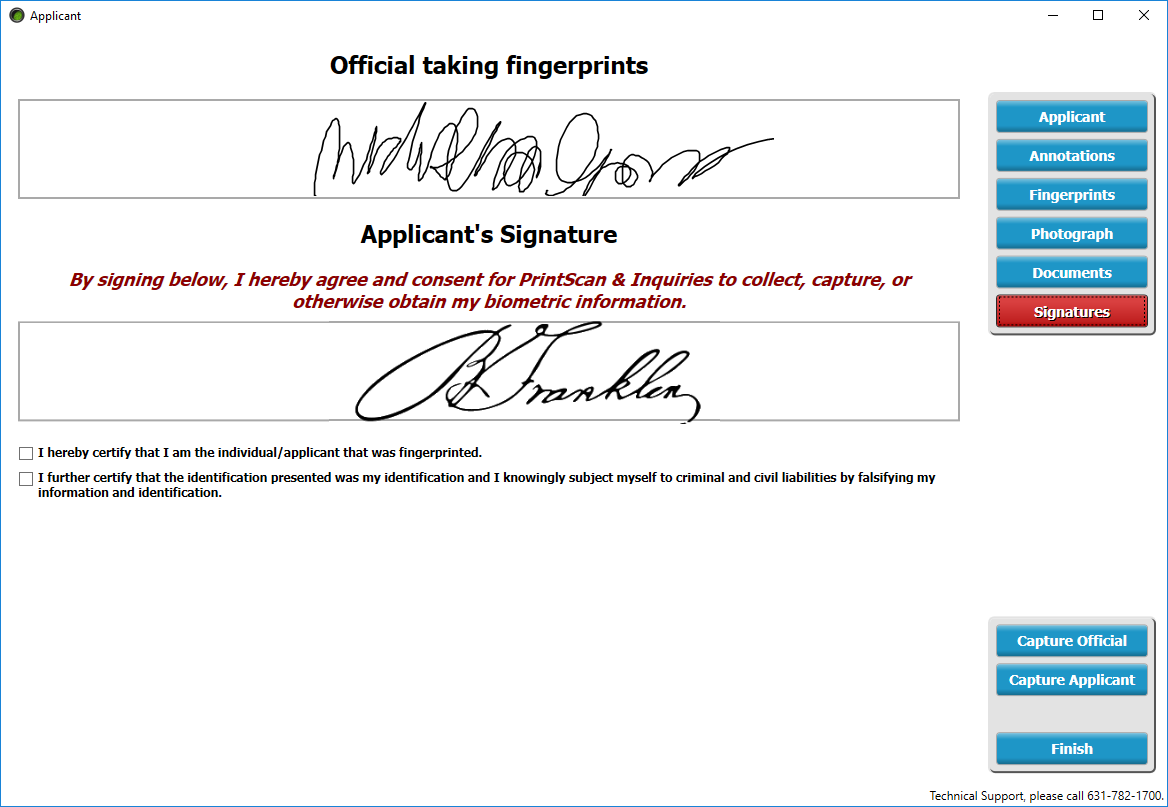 Officer and Applicant Signature